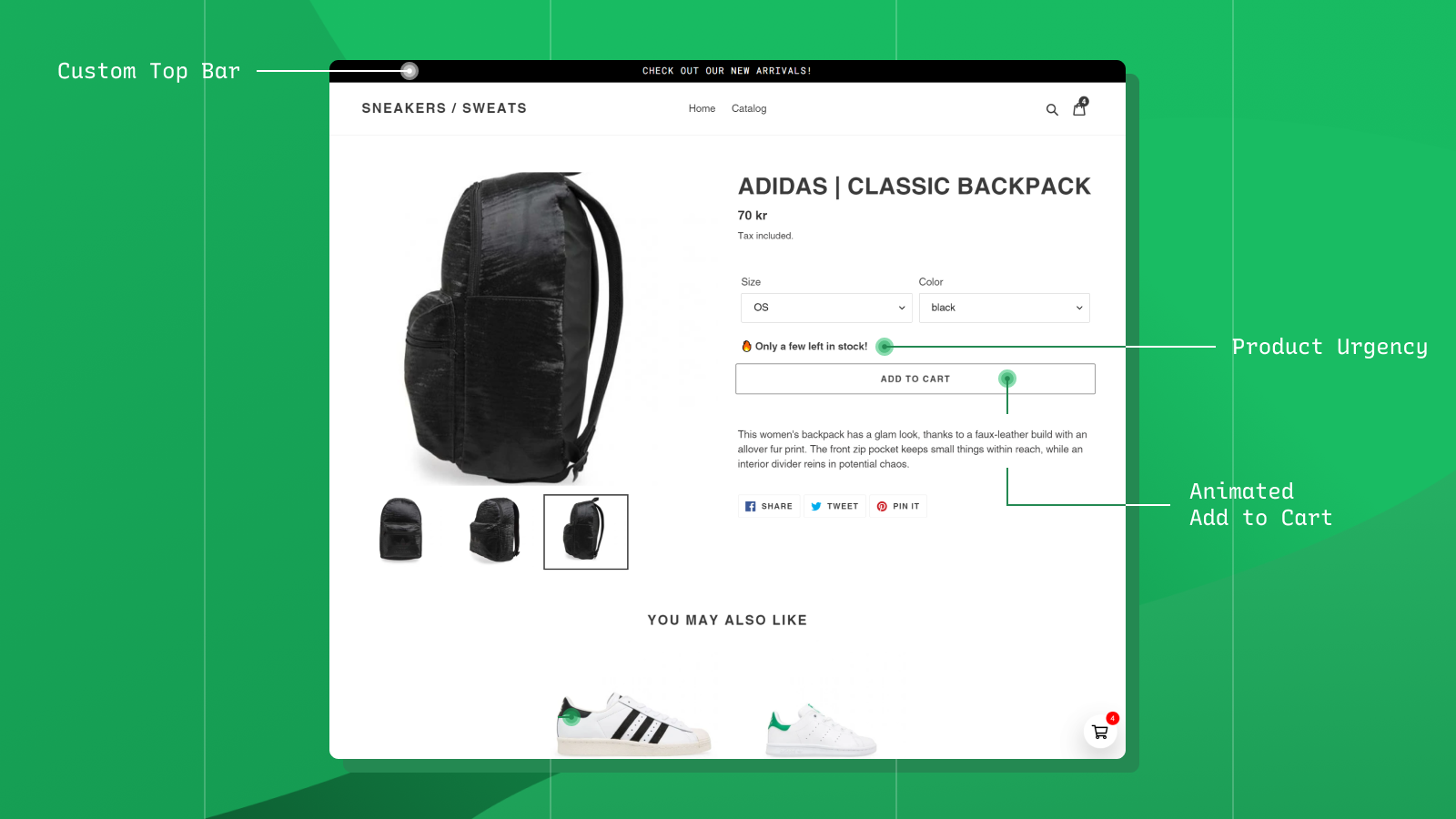 Custom Top Bar, Product Urgency, Animated Add to Cart