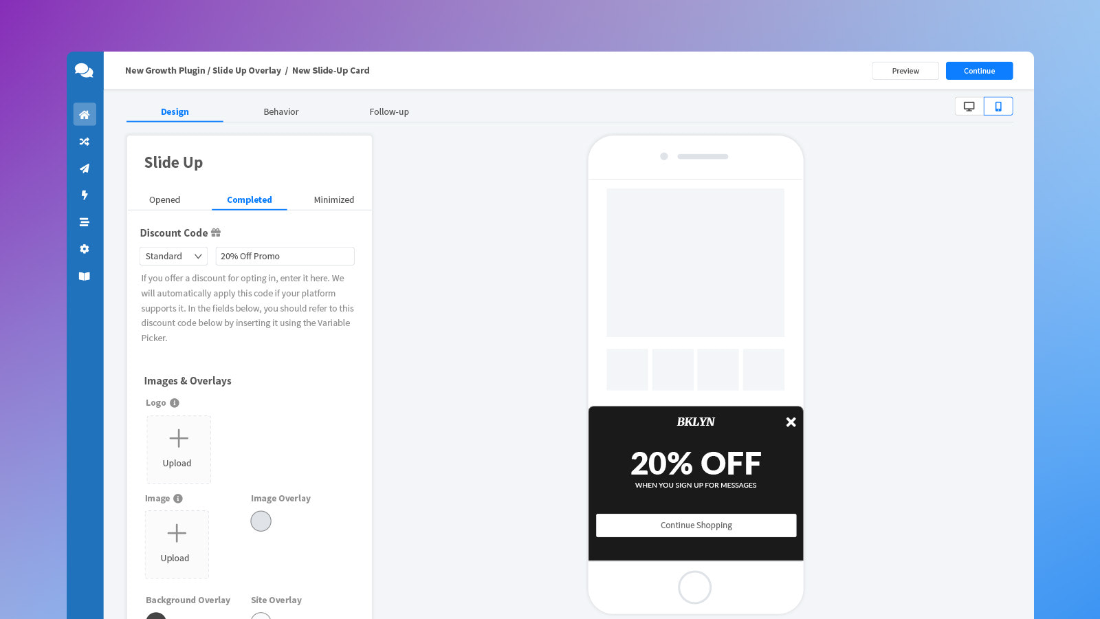 Drag and drop editor to build popups and grow a Messenger list