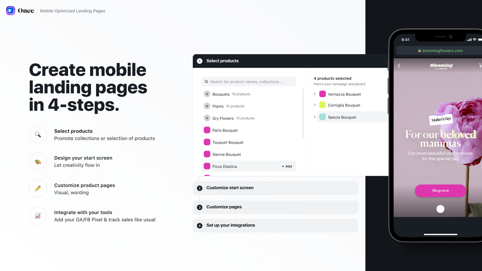 create mobile landing pages in 4-steps