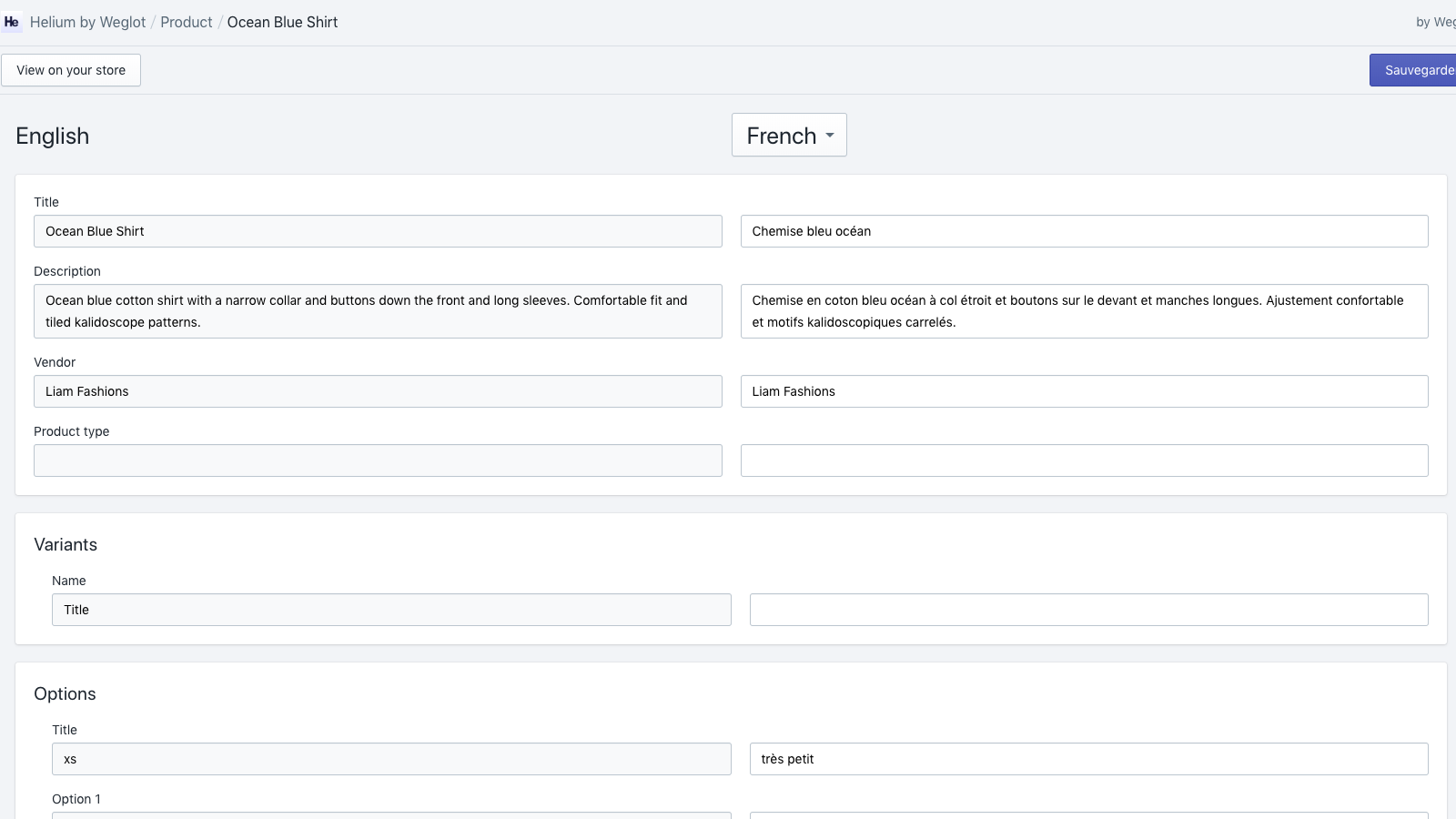 Manage your translations with a simple interface