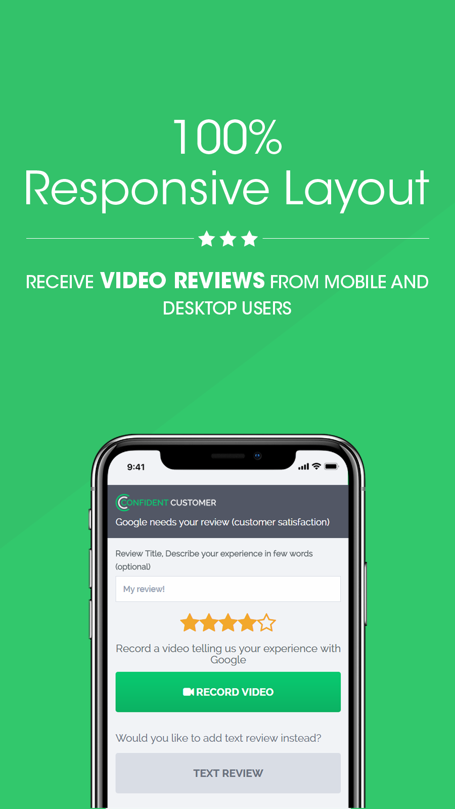 Get video reviews from mobile and desktop users. 100% responsive