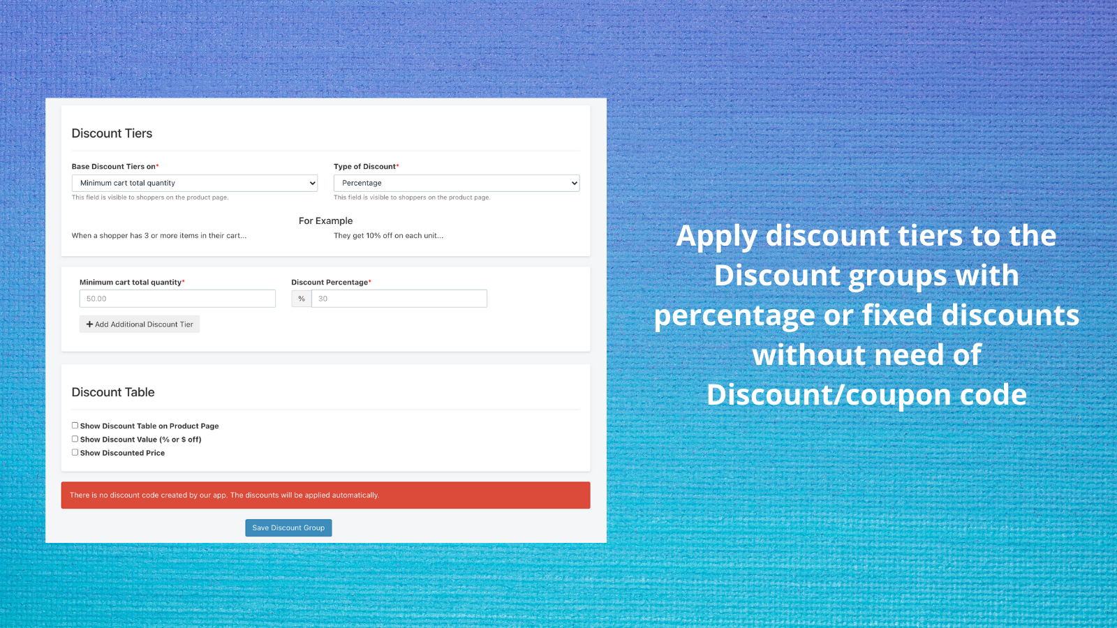 Use Discount Tiers - Fixed or Percentage discounts