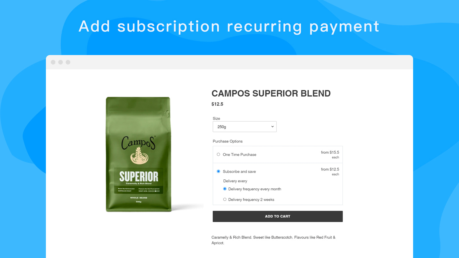 Add subscription recurring payment