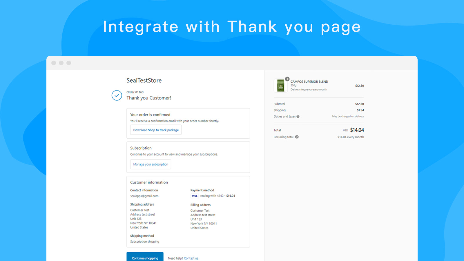 Integrate with Thank you page