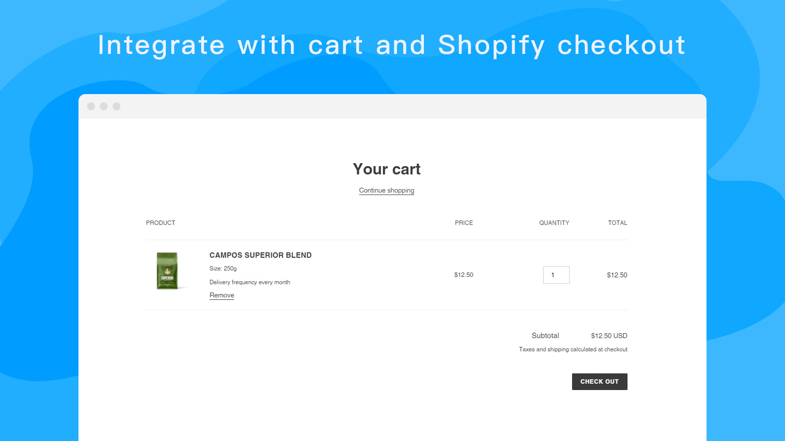 Integrate with cart and Shopify checkout