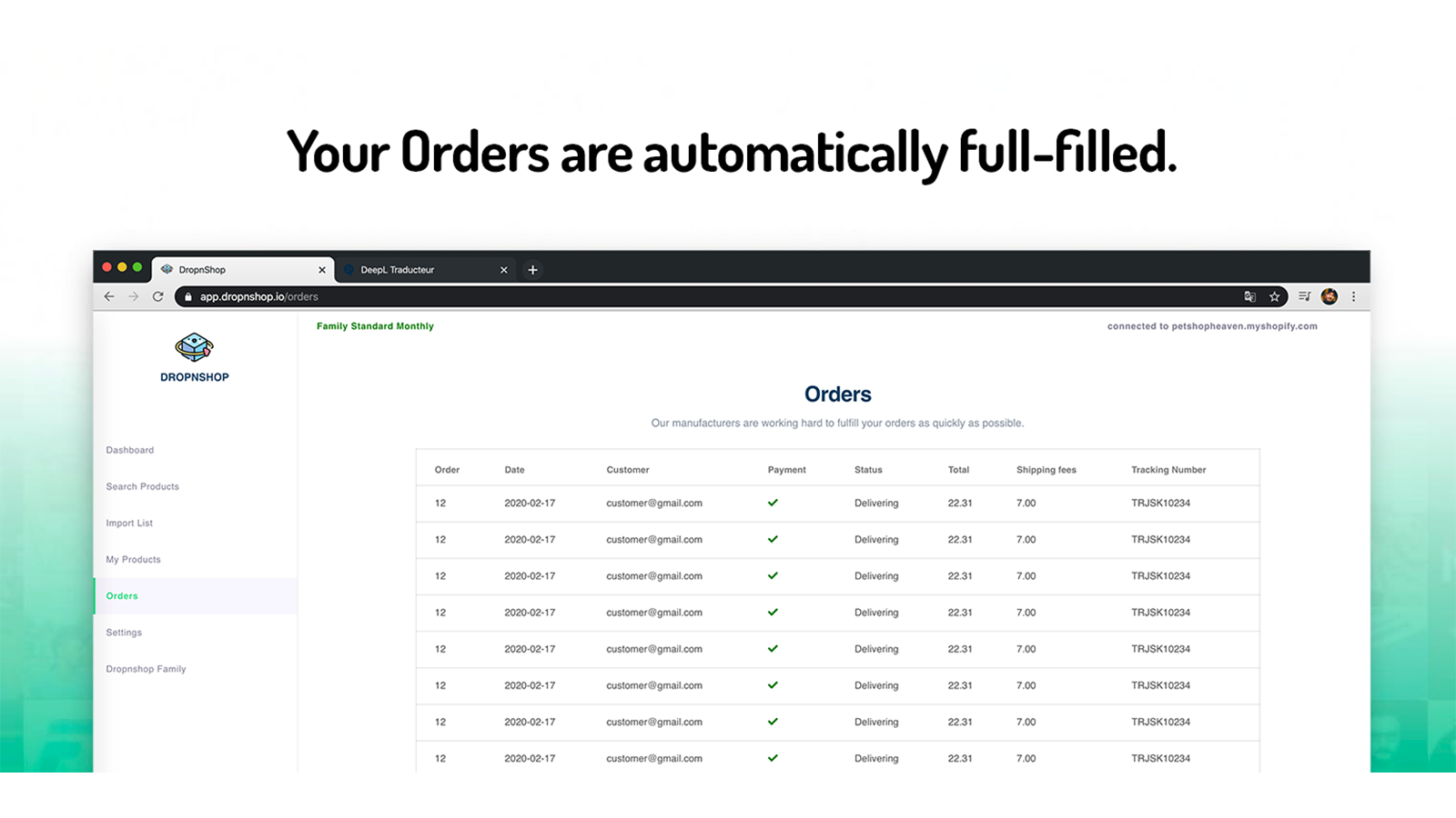 Your Orders are automatically full-filled.