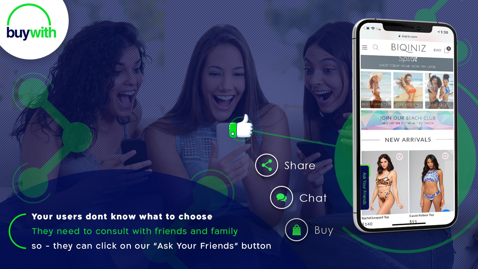 Share with friend button, get new traffic