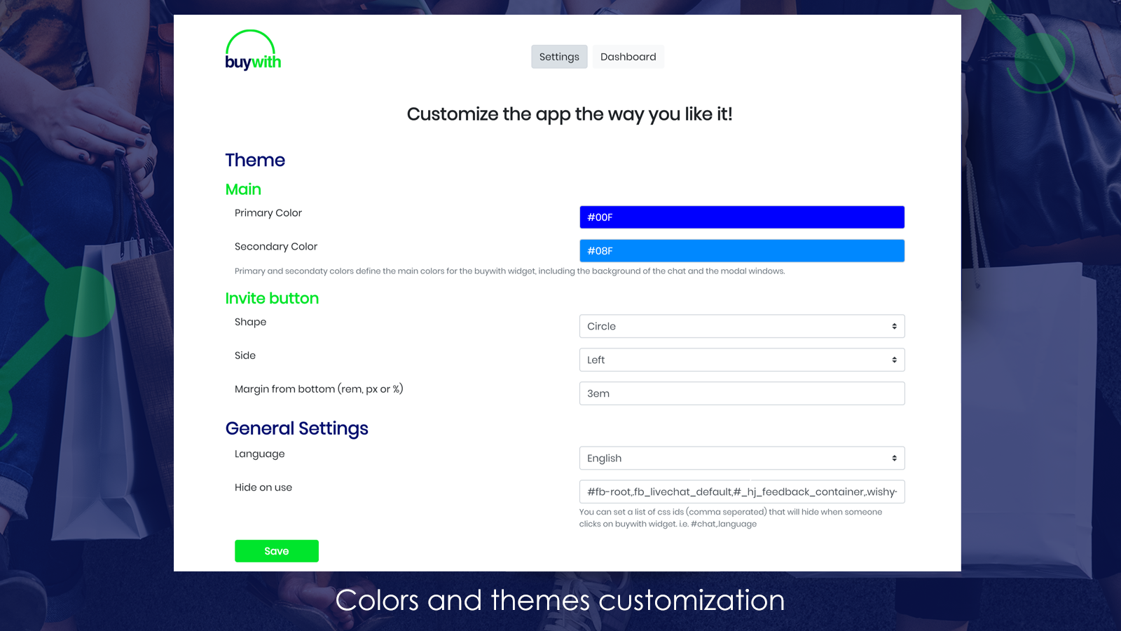 Colors and themes customization
