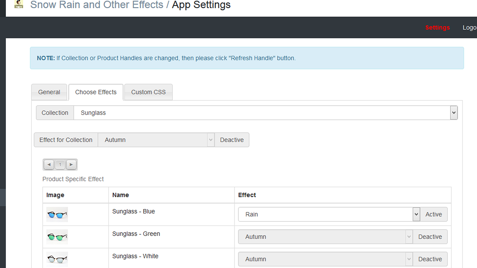 Effect settings in the app backend