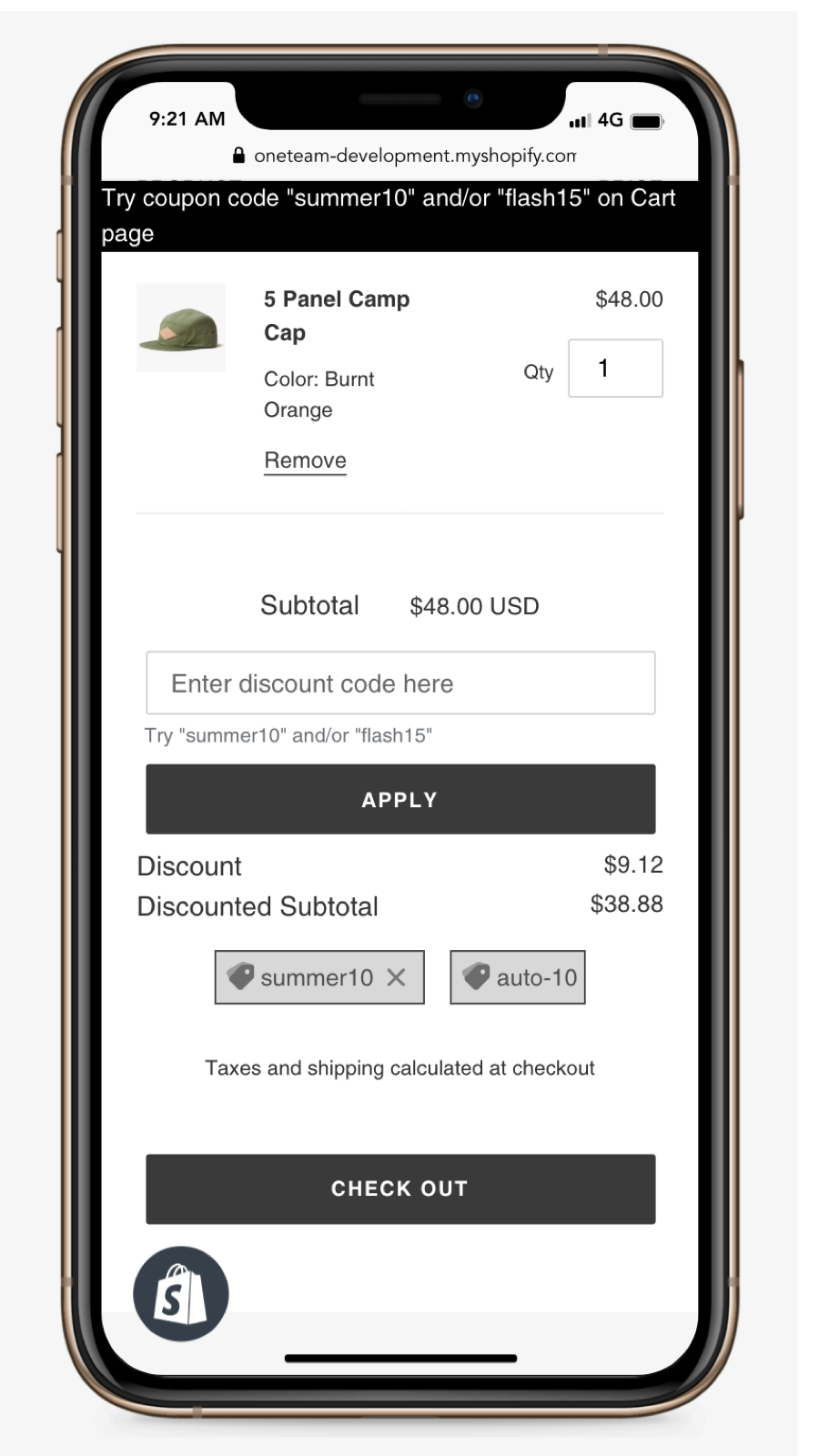 Add discounts on the Cart page