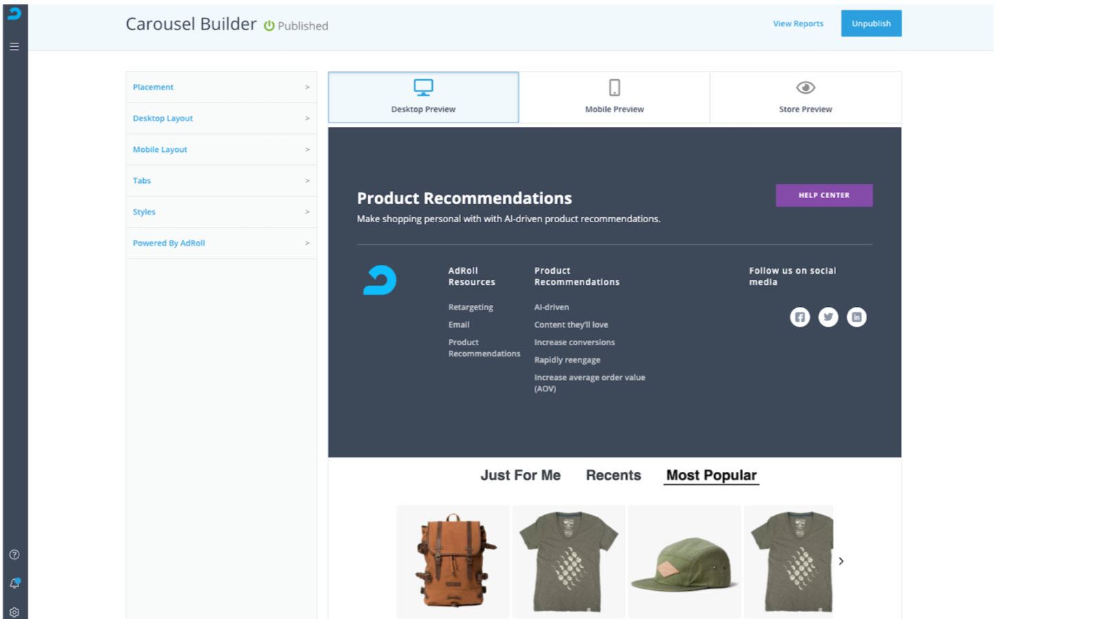 Show personalized product recommendations to visitors.