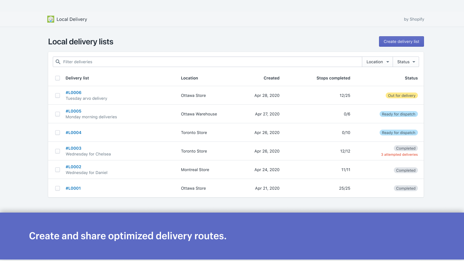 Create and share optimized delivery routes