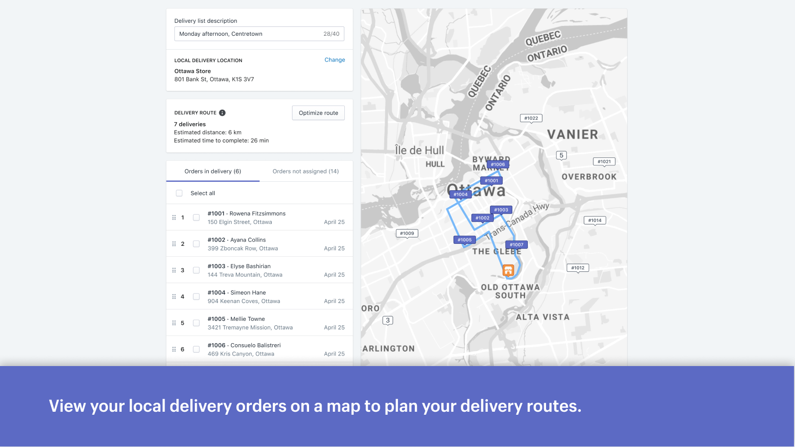 View your local delivery orders on a map to plan your deliveries