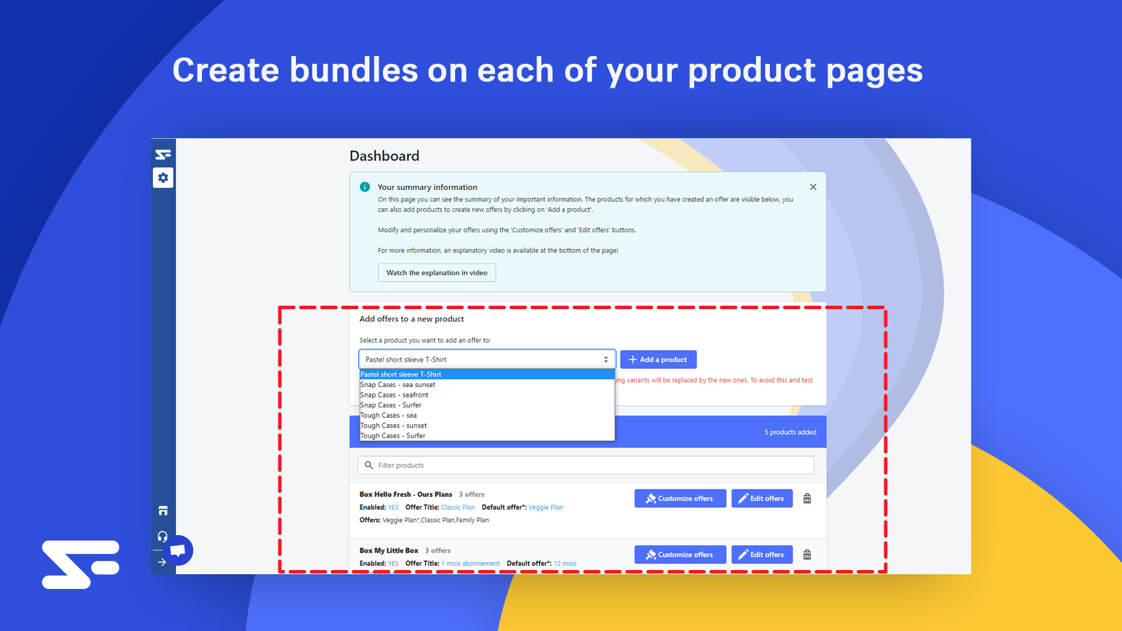 Create bundles on each of your product pages