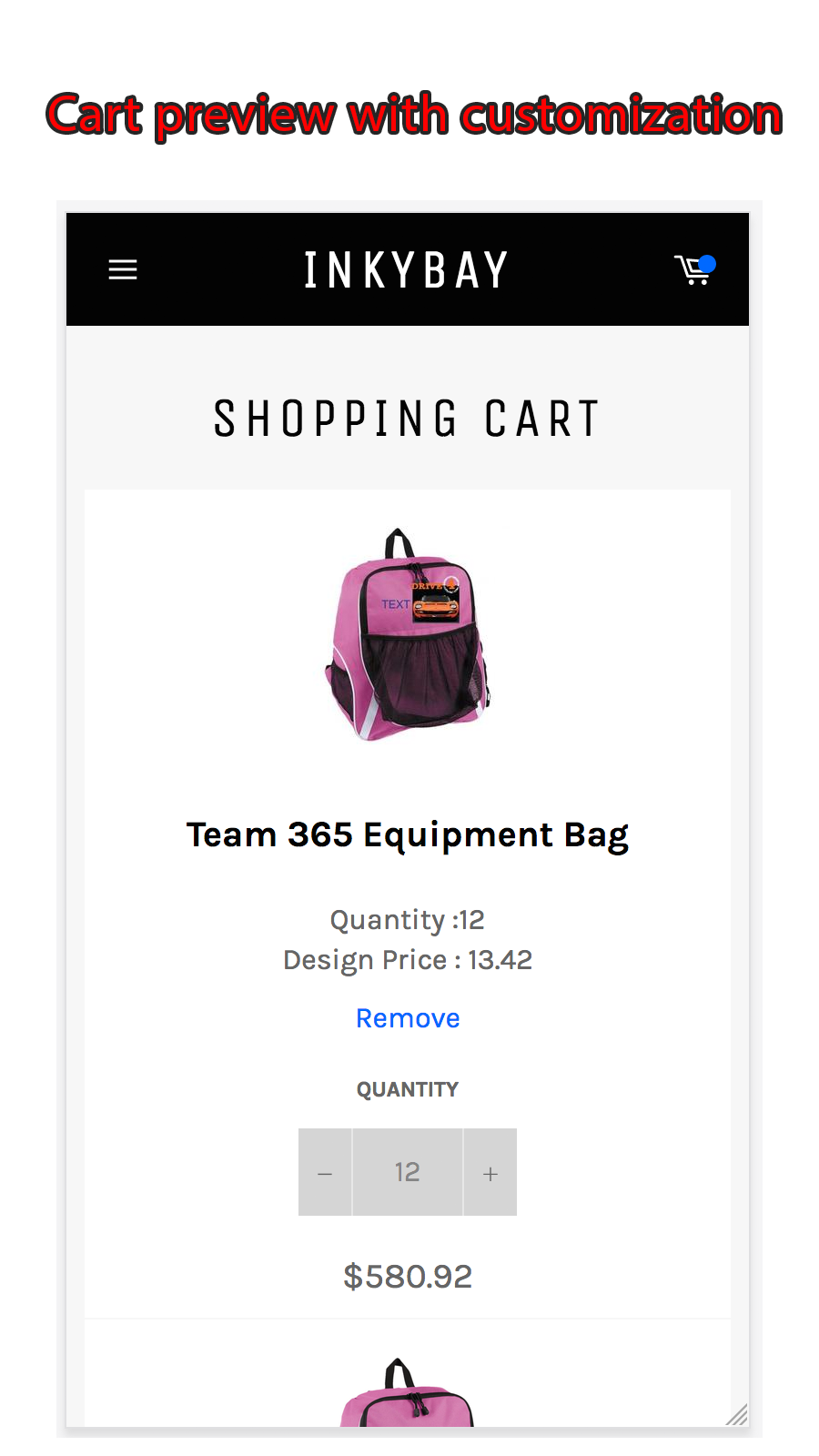Shopping cart preview with customization