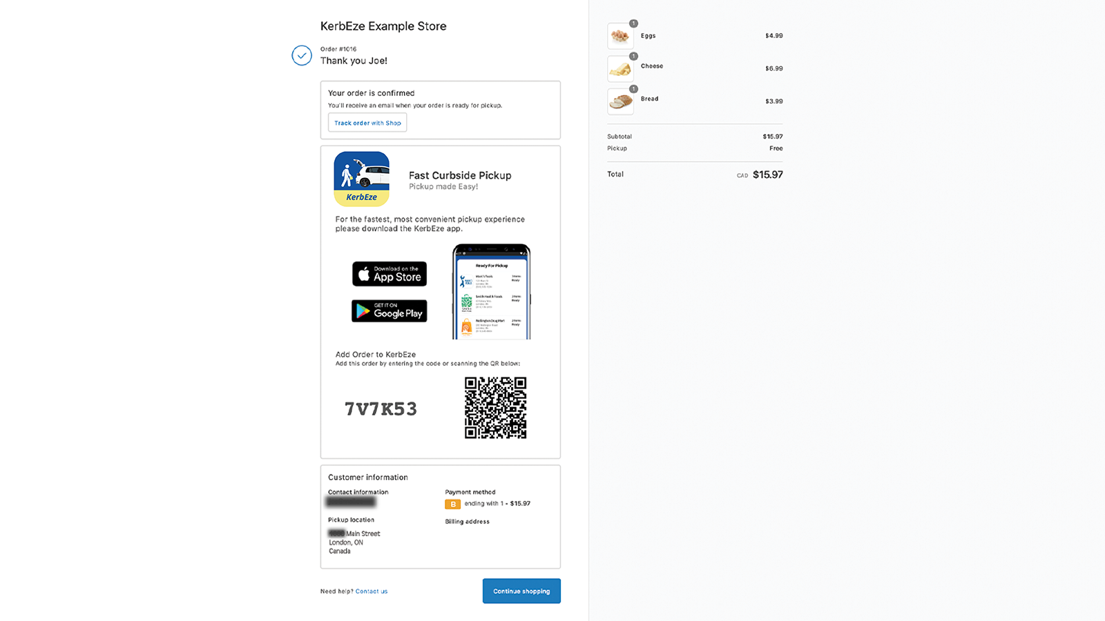Order Confirmation Page with KerbEze pickup option