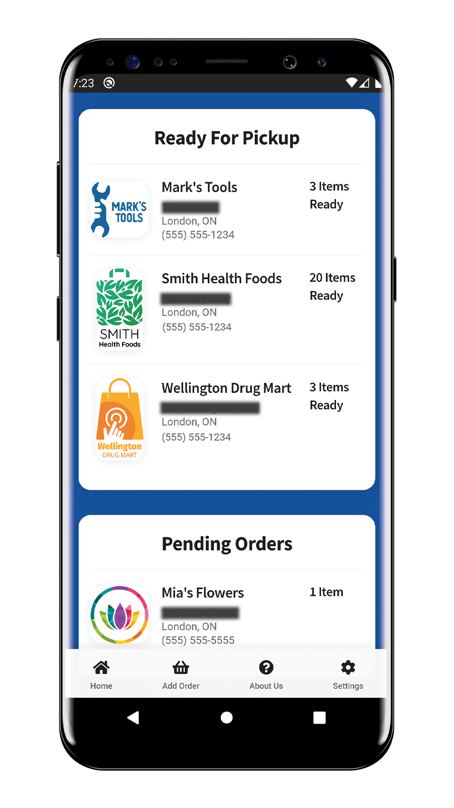 Customer App Home Screen with orders