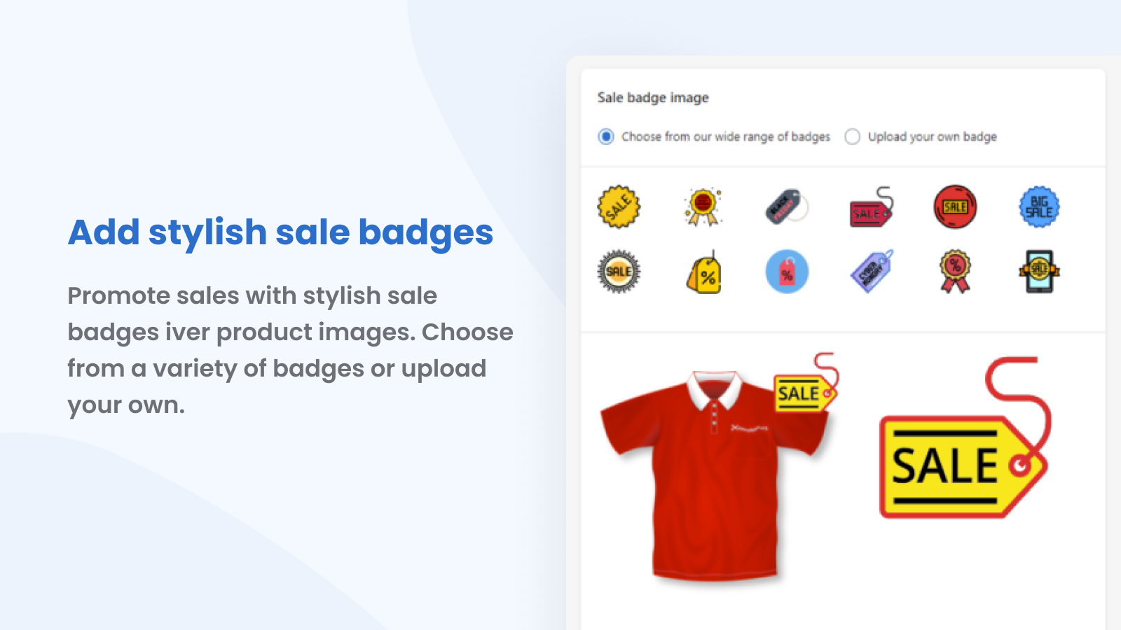 Add stylish sale badges over product images.
