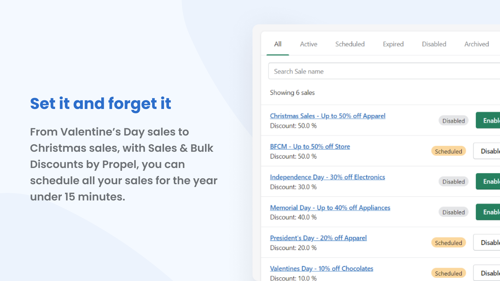 Schedule all your year's sales in under 15 minutes.