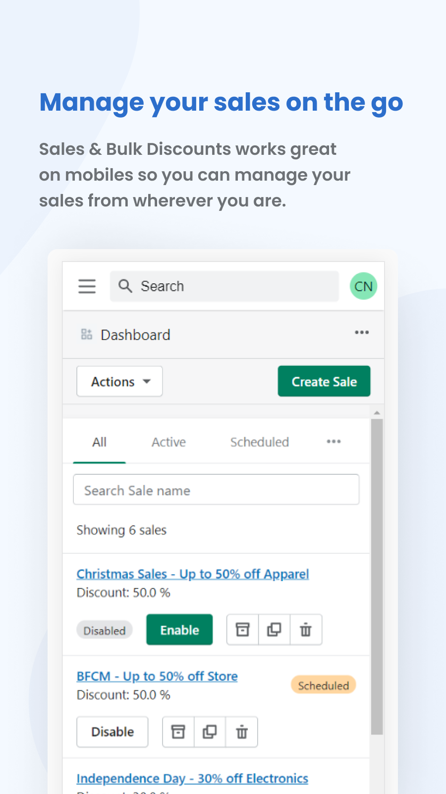 Sales & Bulk Discounts works great on mobile!