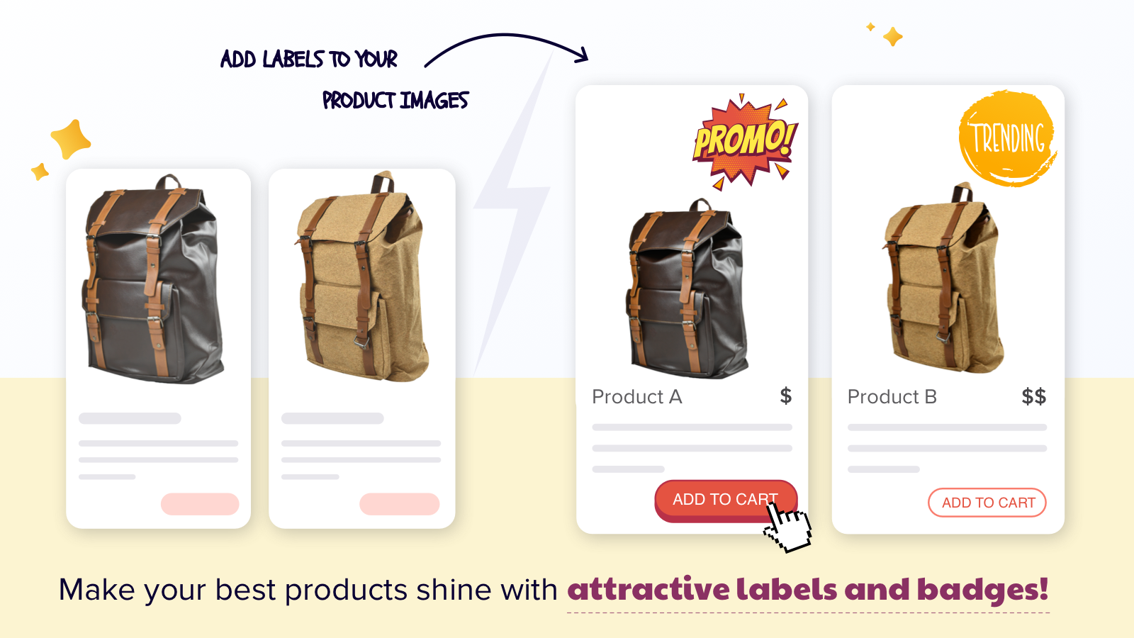Use product labels, stickers & badges to boost sales.