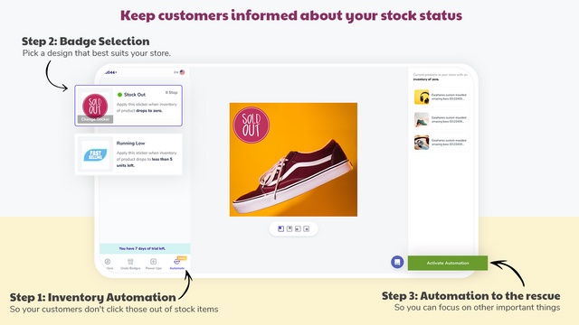 Apply few left or out of stock badges automatically. Grow sales.