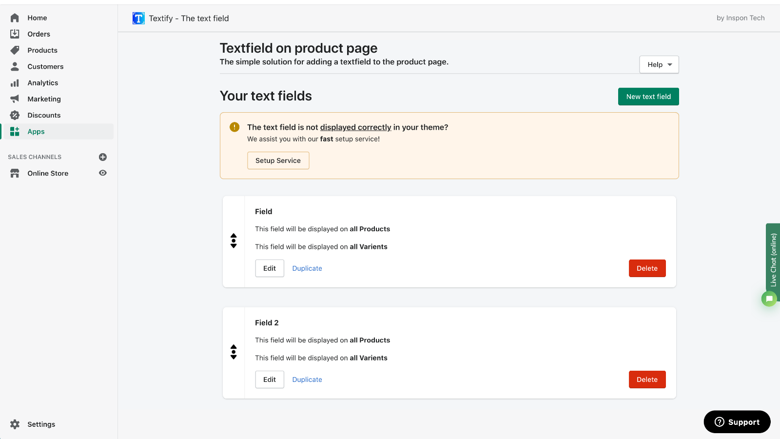 Textfield dashboard - manage your textboxes and custom fields
