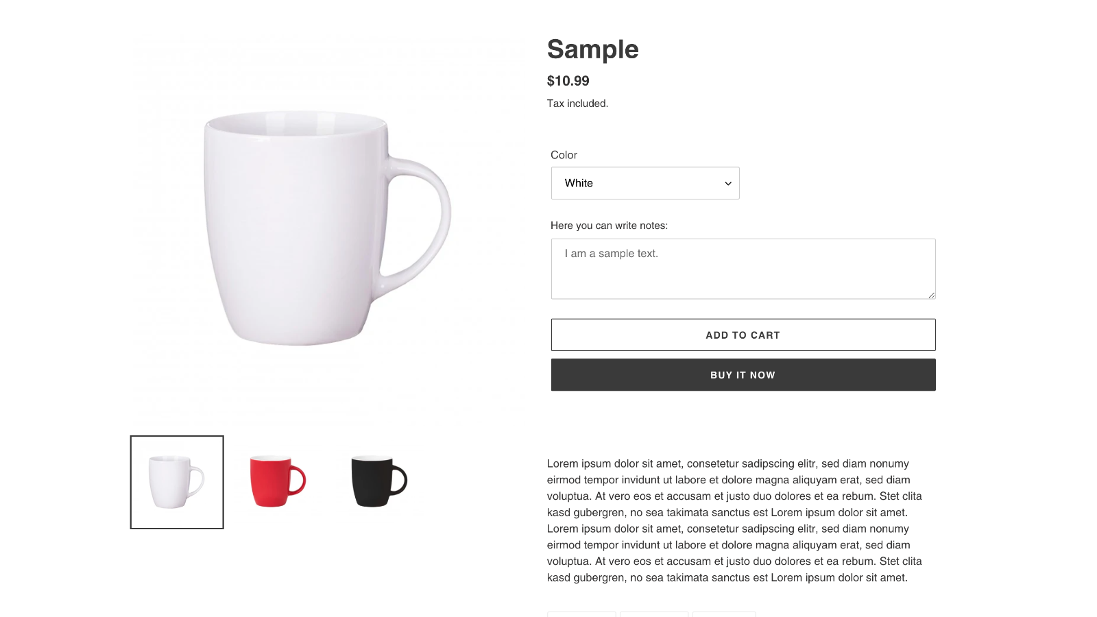 Textfield on product page - Custom field for text and notes