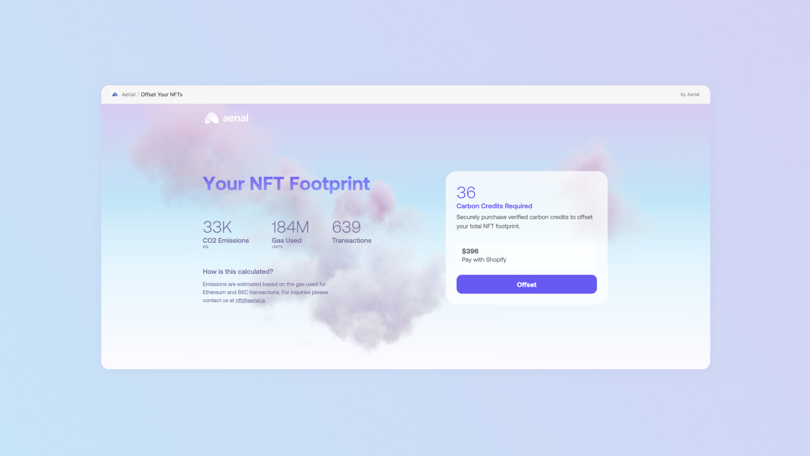Calculate the carbon footprint of your NFT sales