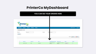 This is the PrinterCo MyDashboard panel orders listing view