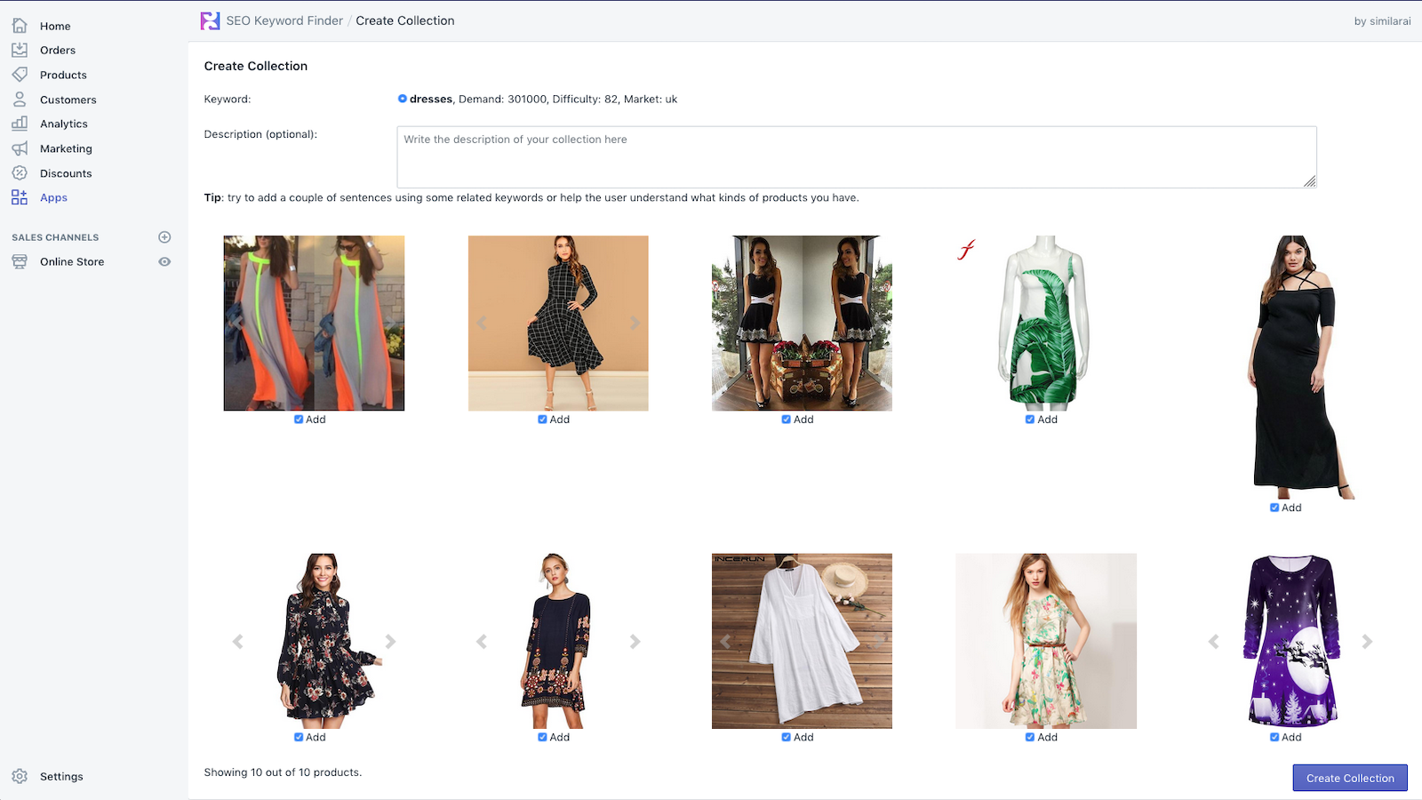 Create a new collection from one of the keywords suggestions