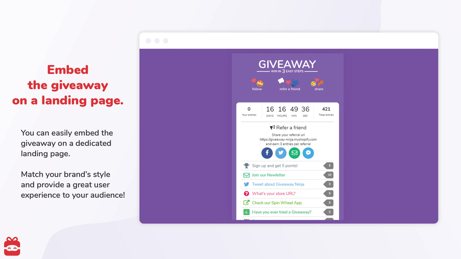 Embed the Giveaway on your landing page