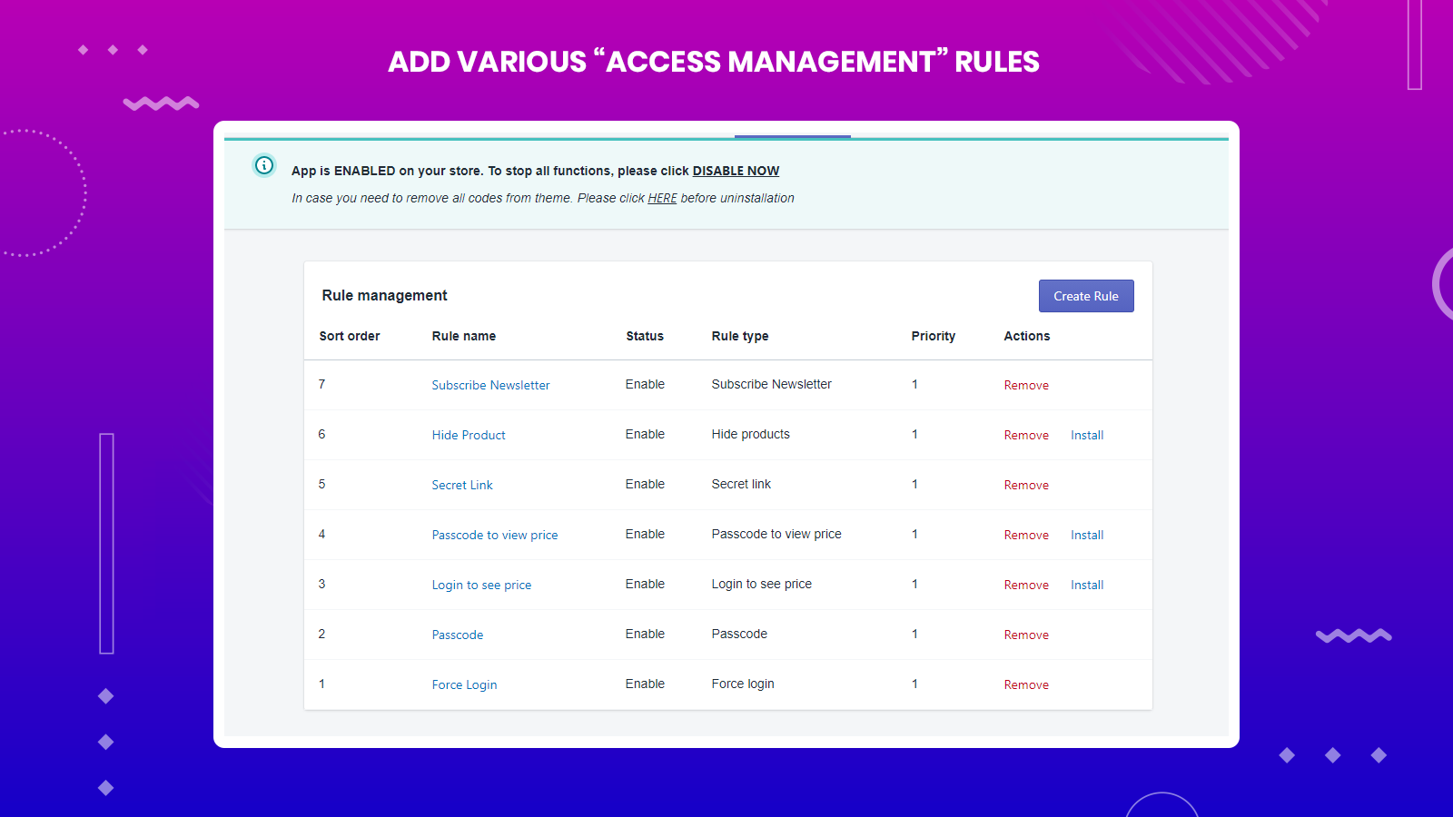"""You can use many """"Access Management"""" rules to benefit your site!"""