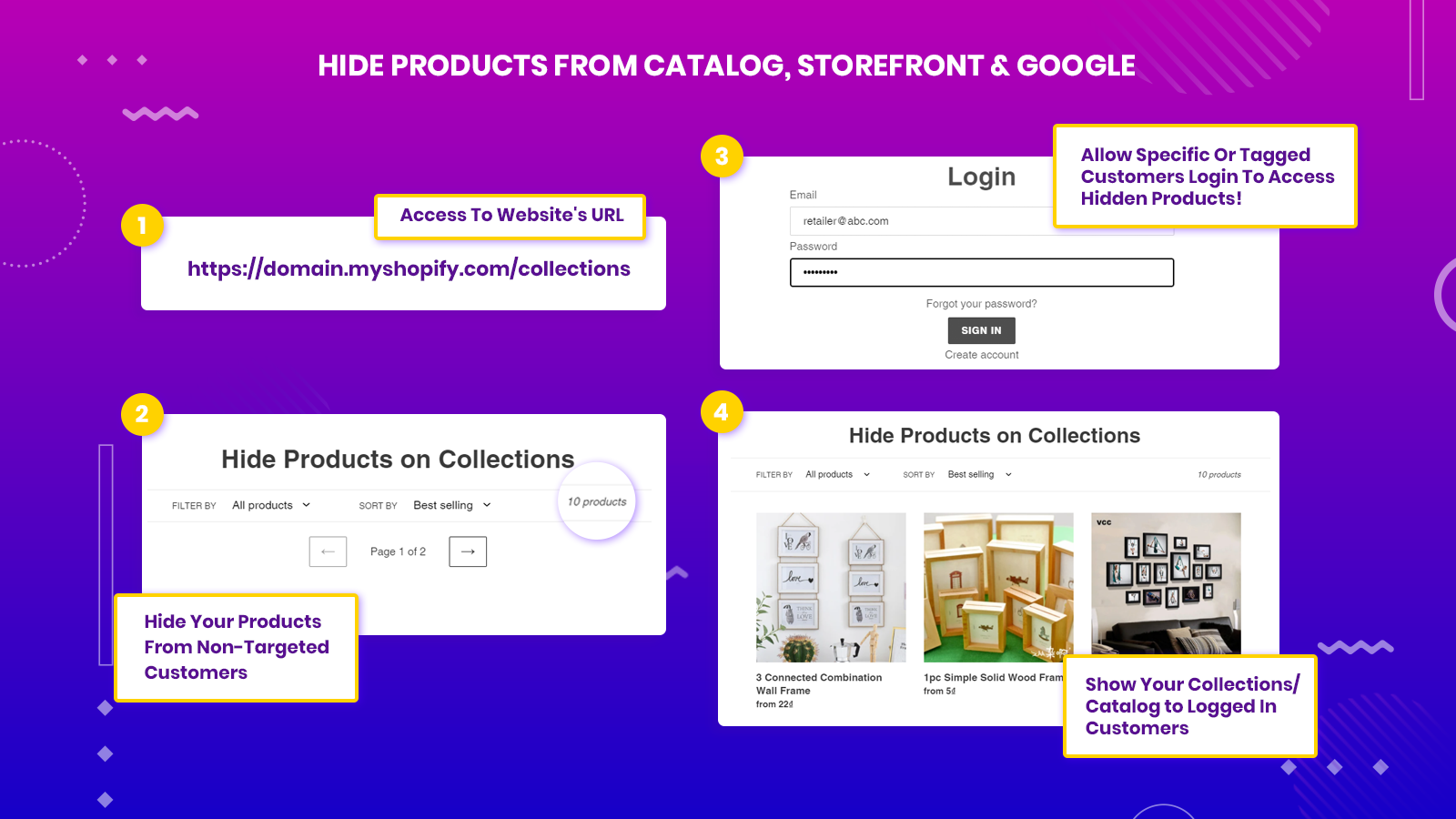 Hide Products on Catalog, Products, Collections pages, and more.