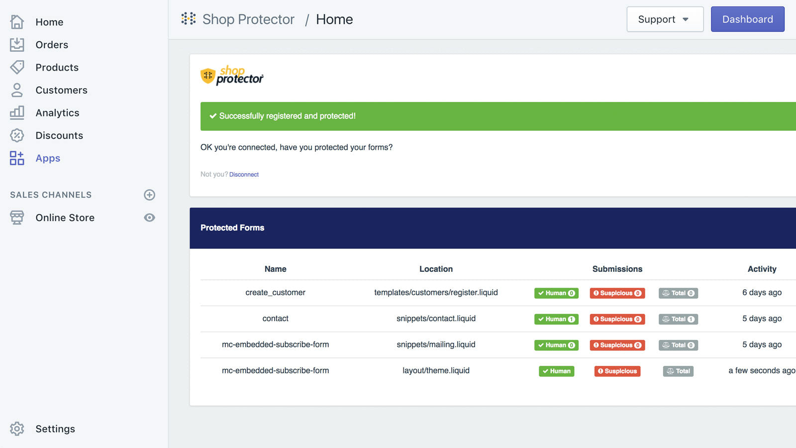 View activity for your protected forms