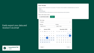 Easily export your data and receive it via email