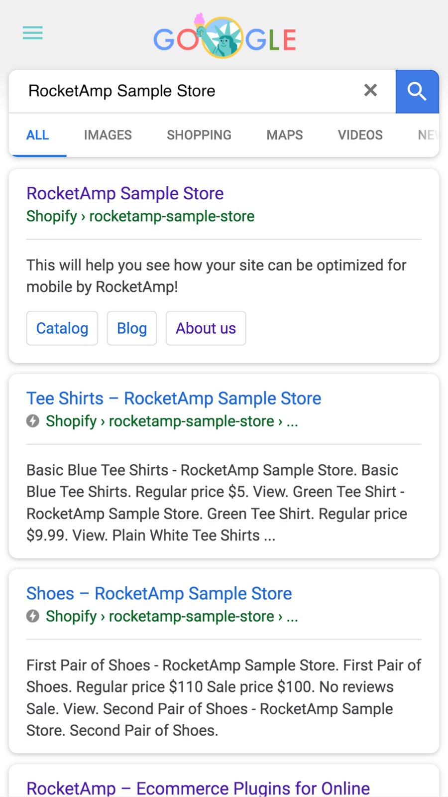AMP in search results (example)