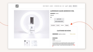 Review tab created with Tabs App on product page