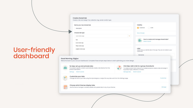 User-friendly dashboard to set up tabs for Shopify store