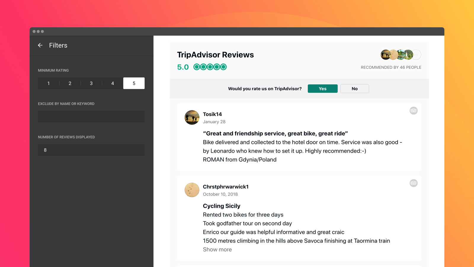 Show TripAdvisor reviews on your site sorting with three filters