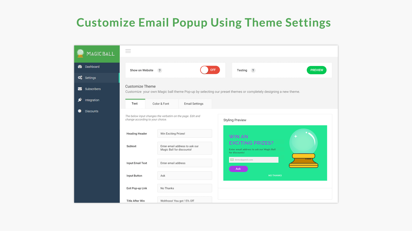 Customize Email Popup