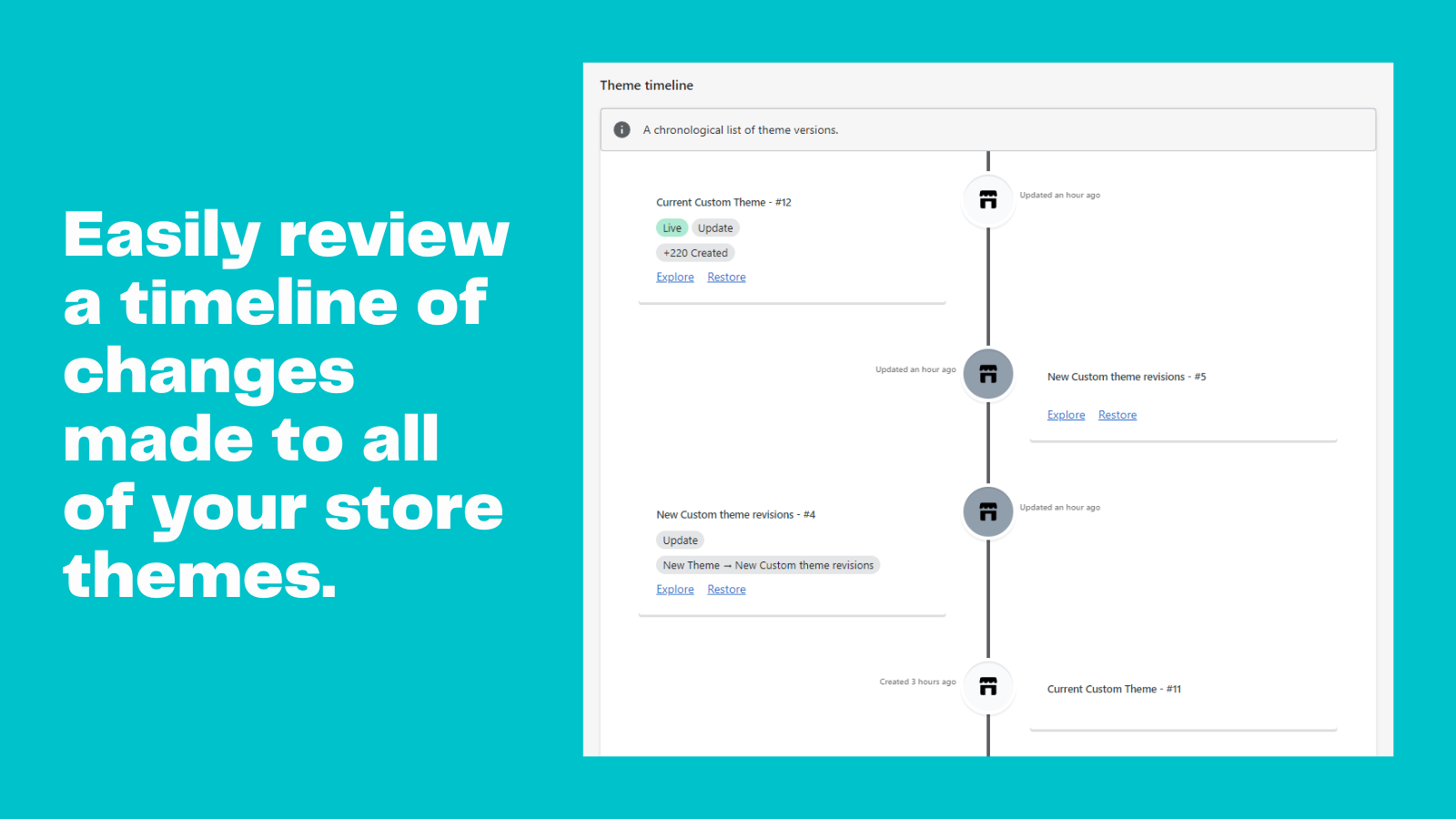 Easily review a timeline of changes made to your store themes