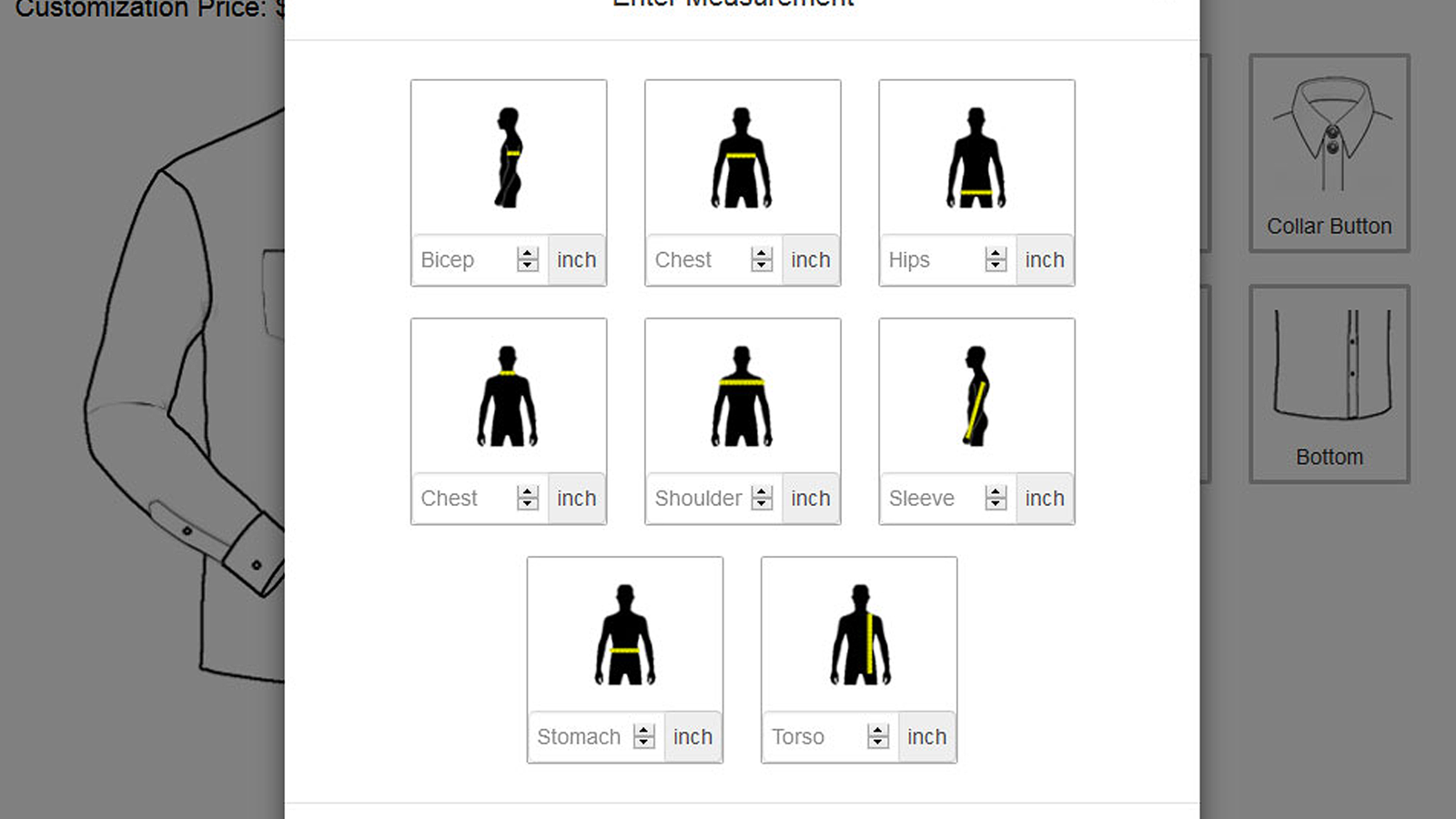 Tailor Shirt measurement entry in the design panel
