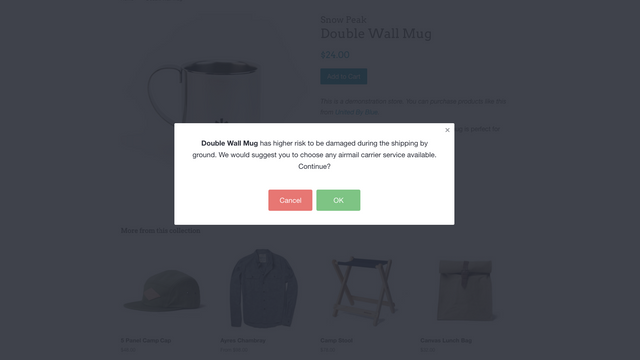 Checkout Product Warning Popup Notification