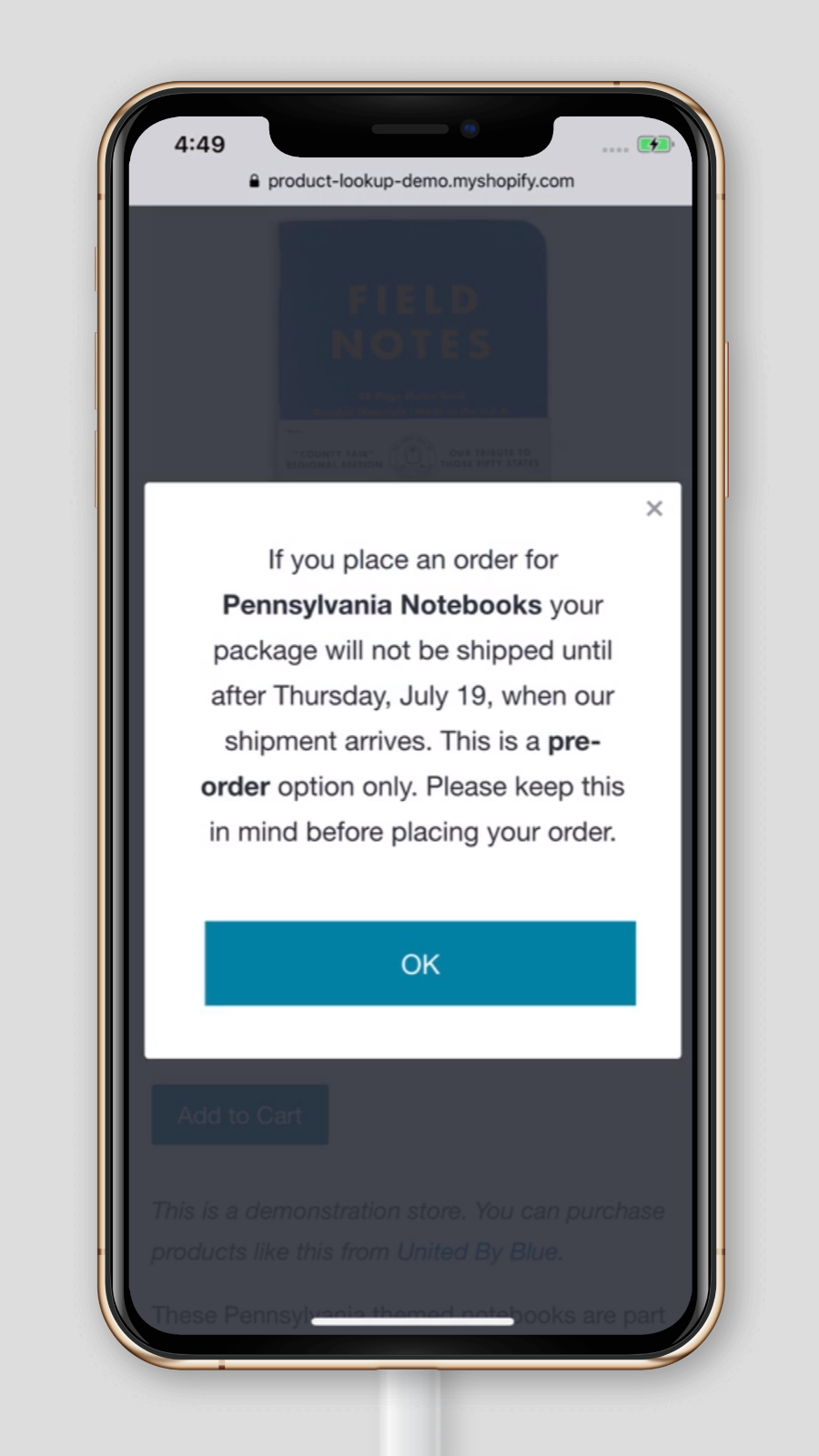 Pre-Order Popup Notification for E-commerce Stores