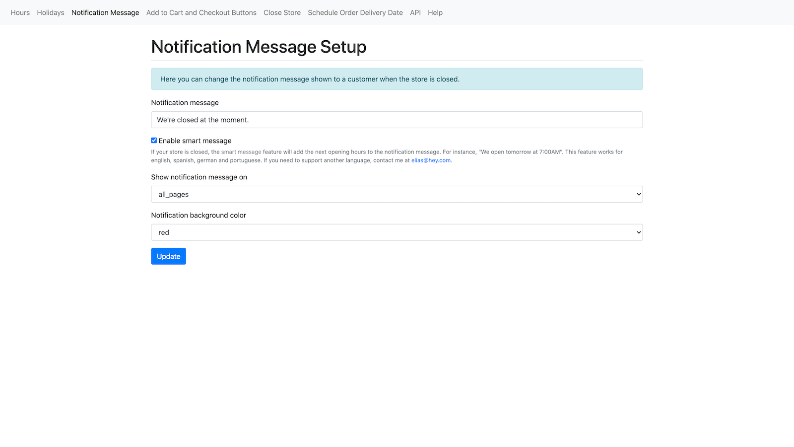 Customize the notification message