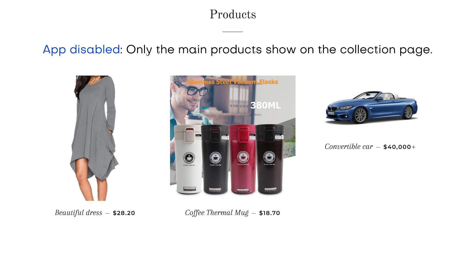 App disabled: Only the main products show on collection page