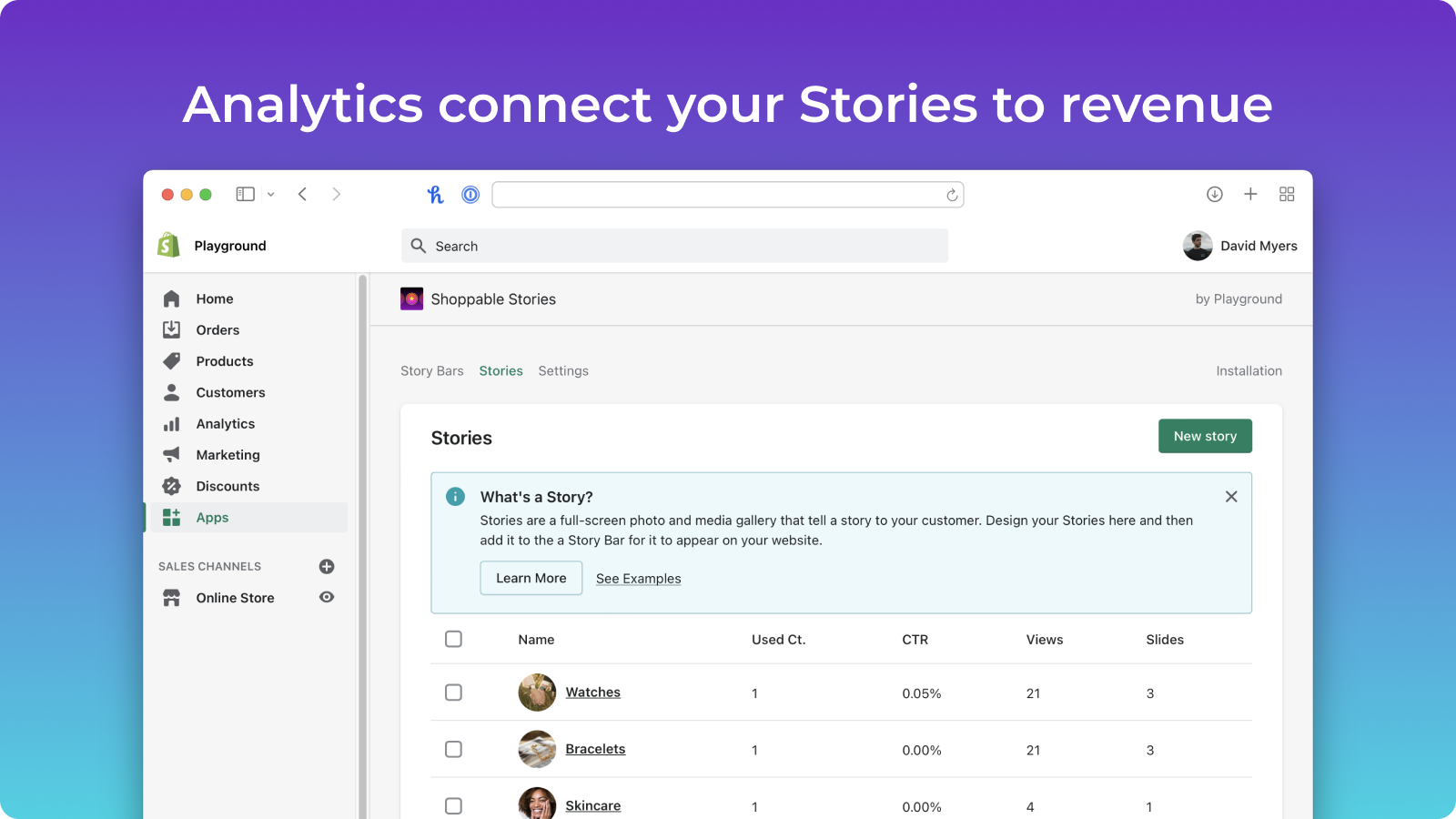Analytics connect your Stories to revenue