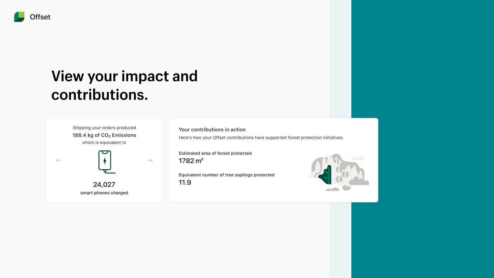 Your dashboard shows the environmental impact your offsets have.