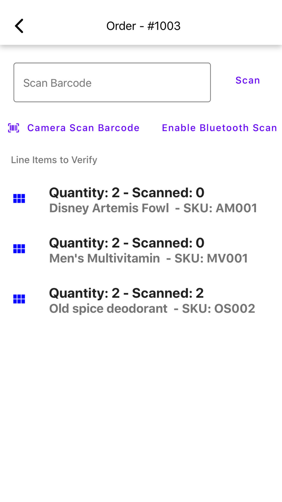 Order detail page, start scanning with a barcode scanner